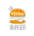 Orange Burger With Crown Premium Quality Fast Food vector image vector image