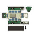 paper model of an old green bus vector image vector image