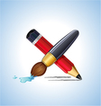 pencil and brush drawing vector image