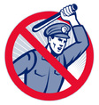 police officer wielding truncheon vector image vector image