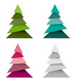 set christmas trees made from pieces paper vector image