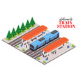 suburban train station composition vector image vector image