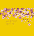sunny yellow color decorative cherry blossom vector image vector image