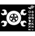 Tire Service Wrenches Icon with Tools Bonus vector image vector image