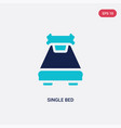 two color single bed icon from hotel and vector image