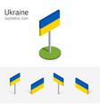 ukraine flag set of 3d isometric icons vector image