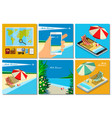 vacation with mobile phone concept vector image