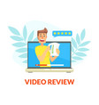 video review male blogger creating content and vector image vector image
