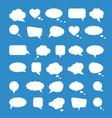 White paper speech bubbles on blue background