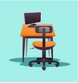 working computer desk vector image vector image