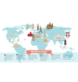 World landmarks on map vector image