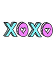 xoxo cute word with hearts teen doodle vector image vector image