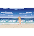 Yellow bikini girl on beach vector image