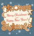 christmas holiday card with gingerbread cookies vector image