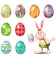 A cute bunny holding a small egg vector image vector image