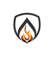 abstract fire shield flame logo concept logo vector image vector image
