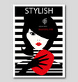 abstract woman with beret and red clutch on vector image vector image