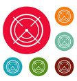 aim radar icons circle set vector image vector image