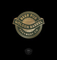 beer pub logo gold beer barrel emblem vector image vector image