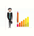 business man with case and success graph on vector image