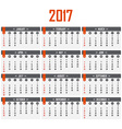 Calendar for 2017 Week starts on Sunday vector image vector image