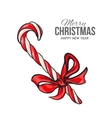 Candy cane with red bow Christmas greeting card vector image
