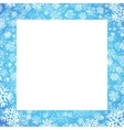 Christmas card with snowflakes frame on blue vector image vector image