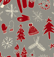 Christmas seamless cute pattern vector image