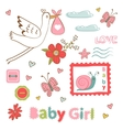 Colorful collection of baby girlannouncement vector image vector image