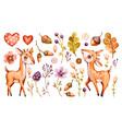 cute baby deer forest watercolor nursery vector image