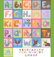 cute zoo alphabet with cartoon animals isolated vector image