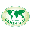 earth day green grunge map banner 2 vector image vector image