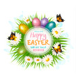 easter sale card with colorful eggs and green vector image vector image