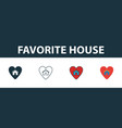favorite house icon set four elements in diferent vector image vector image