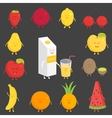 Fruit set Strawberry pomegranate lemon cherry vector image