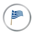 Greek flag icon in cartoon style isolated on white vector image