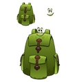 Green rucksack with a cute grin vector image vector image