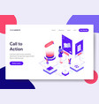 landing page template of call to action concept vector image vector image