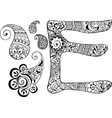 letter E decorated in the style of mehndi vector image vector image