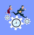 man woman couple running on clock cogwheels over vector image vector image