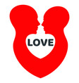 minimalistic love logo with red human profile vector image