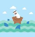nervouse arab businessman surrounded shark vector image vector image