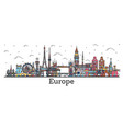 outline famous landmarks in europe business vector image vector image