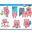 piglet character student cartoon set vector image vector image