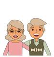 portrait of elderly couple embracing happy vector image