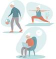 positive senior woman activities vector image vector image