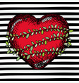 red heart sketch with climbing plant around on pop vector image vector image