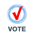 red vote label poll icon vector image