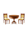 Round table and two chairs isolated on white vector image
