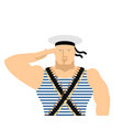 sailor in striped vest and peakless cap february vector image vector image